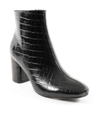 Černé kotníkové kozačky s krokodýlím vzorem