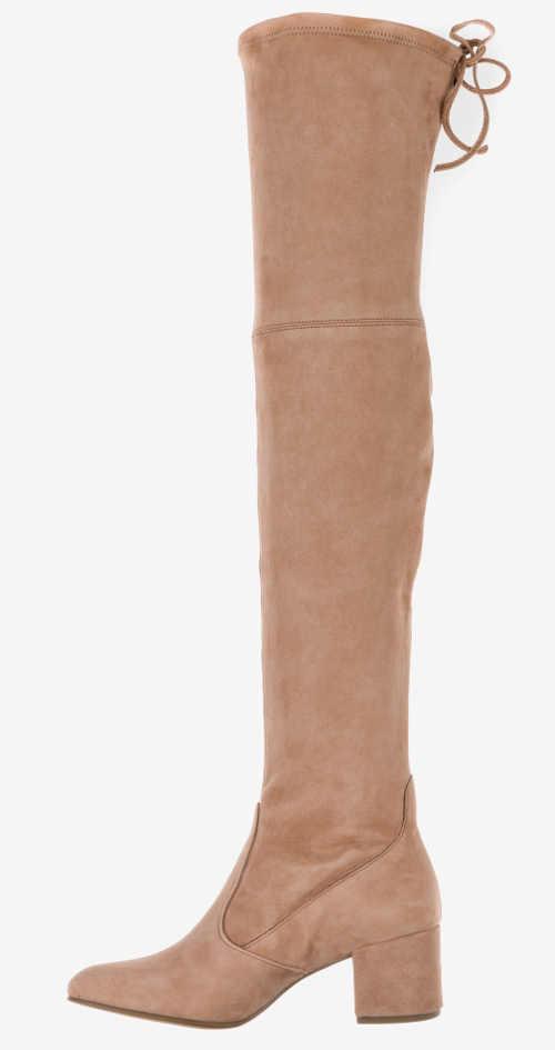 Moderní semišové kozačky nad kolena