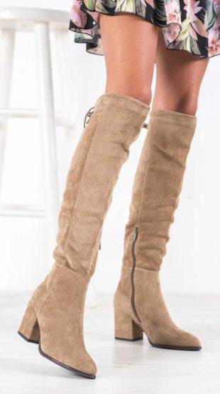 Béžové semišové šněrovací kozačky nad kolena