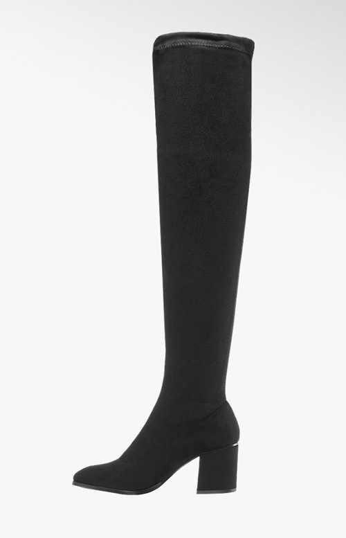Černé dámské kozačky nad kolena Deichmann
