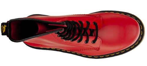 Červené kožené dámské zimní boty se šněrováním