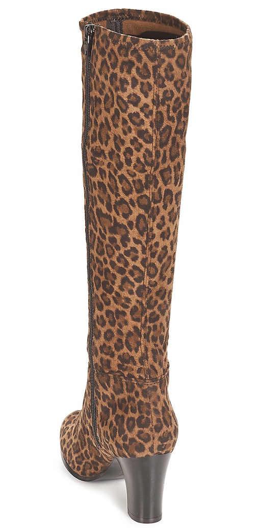 Dámské kozačky na podpatku s animal vzorem