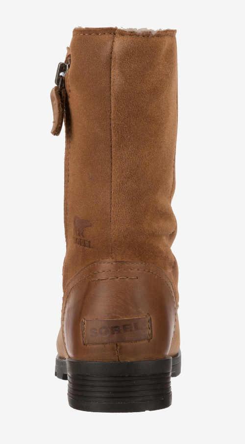 Hnědé kožené dámské zimní boty výškou do půlky lýtka