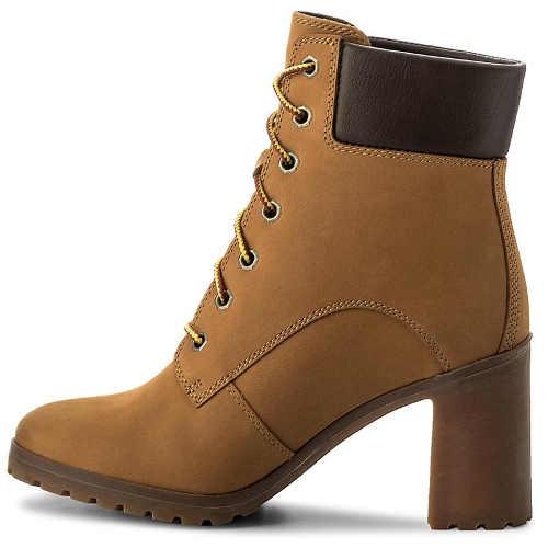 Kožená dámská zimní obuv vysoký podpatek