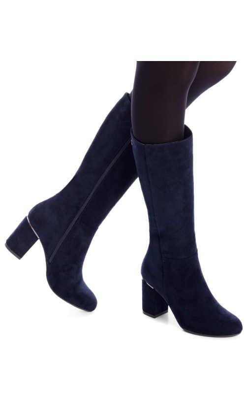modré dámské kozačky v moderní modré barvě