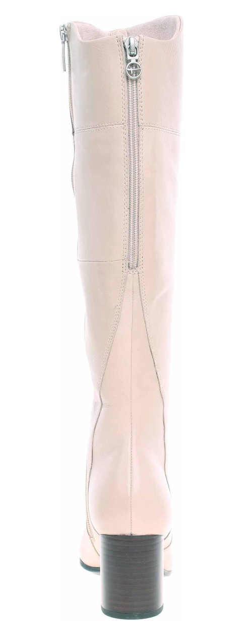 Světle růžové dámské kozačky na vyšším podpatku