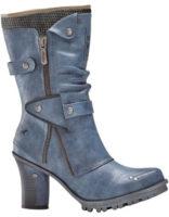 Moderní světle modré dámské kozačky džínový vzhled