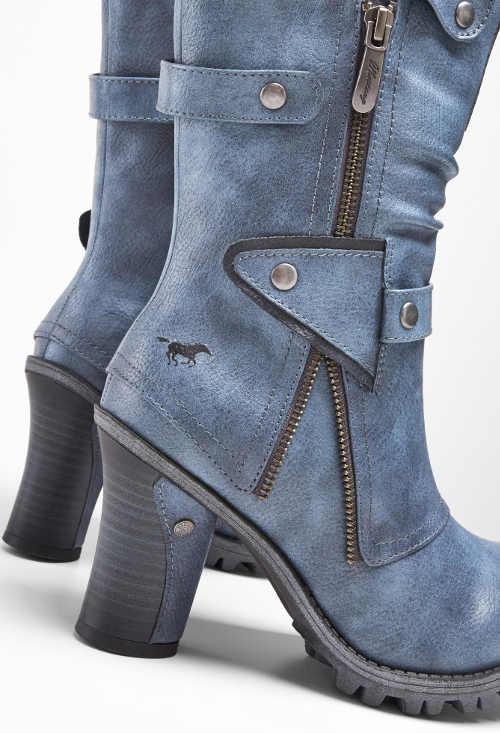 Modré džínové kozačky na vysokém podpatku