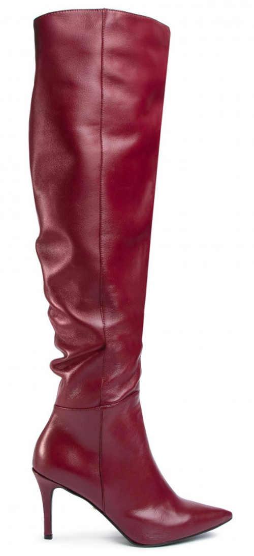 Vínové dámské kozačky mušketýrky z pravé kůže