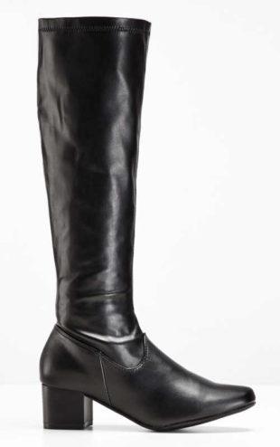 Vysoké lesklé černé kozačky na širokém podpatku