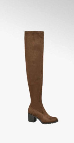 Stylové kozačky nad kolena na podpatku