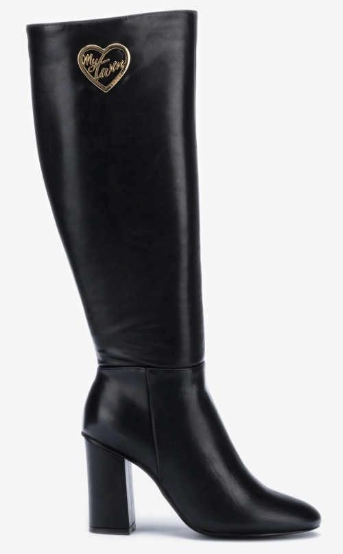 Černé kožené kozačky TWINSET na vysokém podpatku