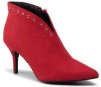 Elegantní kotníkové dámské červené kozačky levně