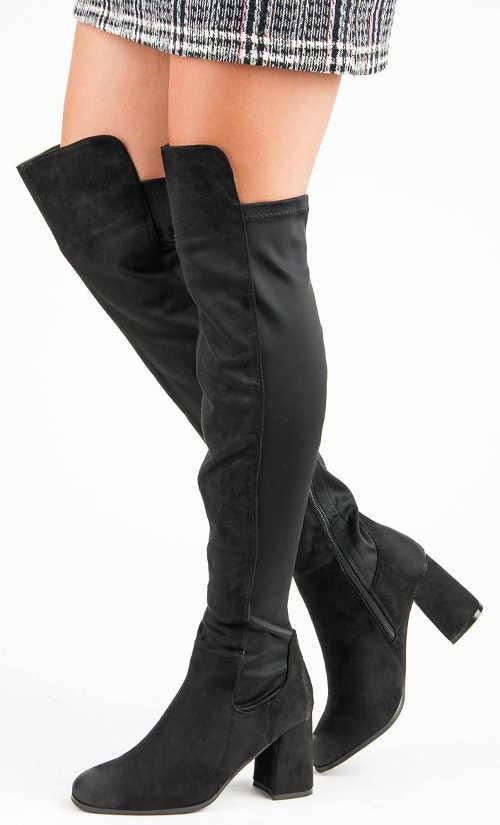 Levné černé dámské vysoké kozačky nad kolena