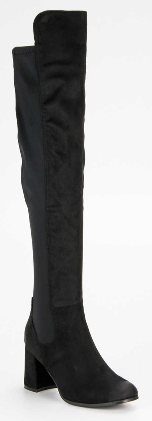 Vysoké semišové černé kozačky nad kolena