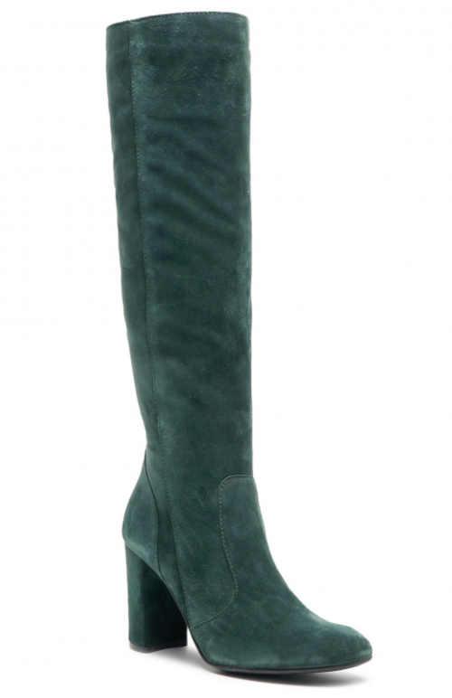 Vysoké tmavě zelené kožené kozačky