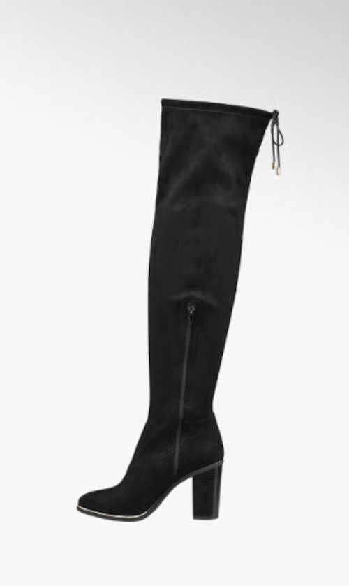 černé vysoké textilní kozačky