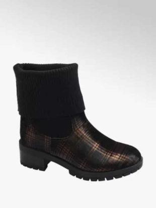 Ponožkové kozačky v módním károvaném vzoru